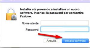 passwpord mac per installazione